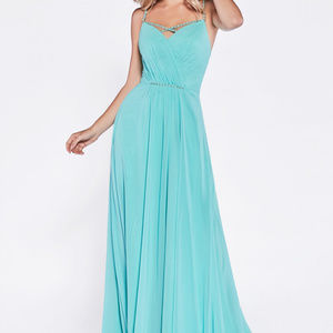 Mint Spaghetti Straps Prom Long Dress